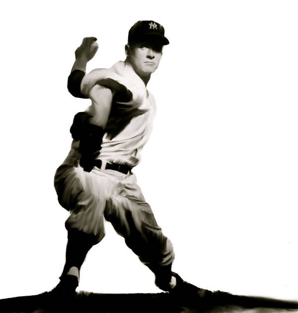 New York Yankee Legend Whitey Ford Poster featuring the drawing Whitey Ford Crafty by Iconic Images Art Gallery David Pucciarelli