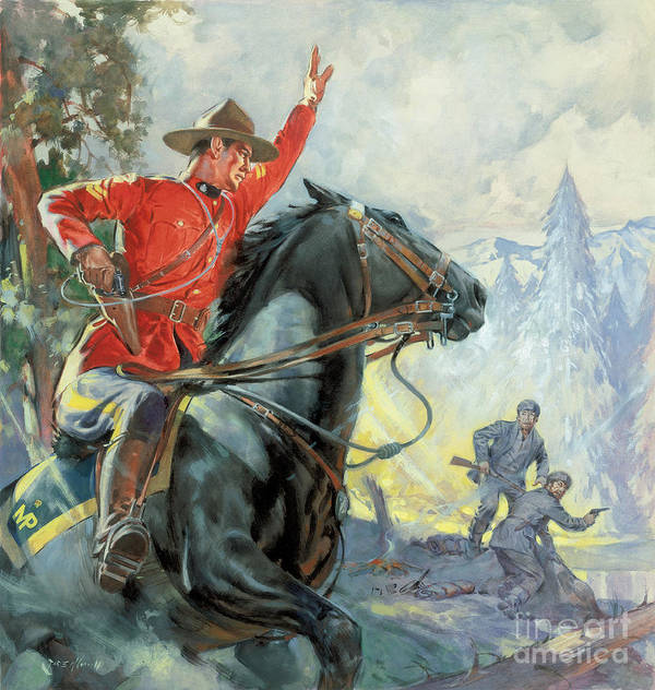 Canadian Poster featuring the painting Canadian Mounties by James Edwin McConnell