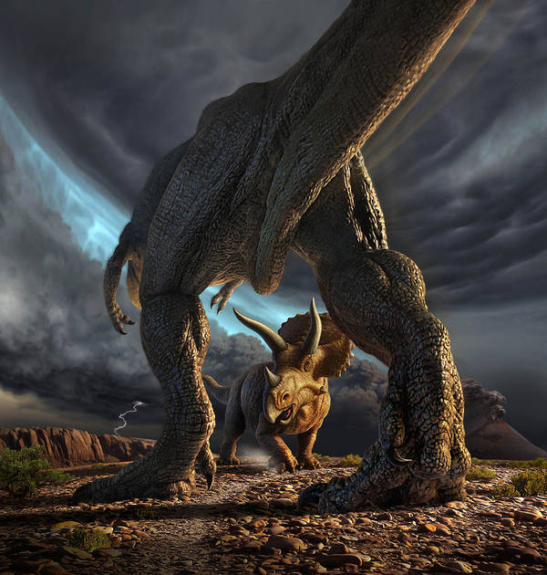 Dinosaur Poster featuring the digital art Face Off by Jerry LoFaro