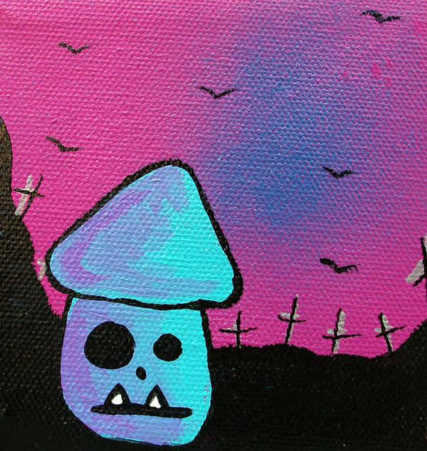 Zombie Poster featuring the mixed media Gruff Zombie Mushroom by Jera Sky