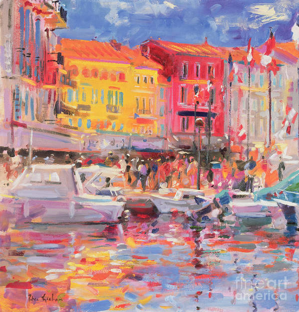 Mediterranean; Beach Town; Coastal; Seaside; Riviera; Exotic; Yacht;harbour; Cote D'azur; Provence; Le Midi; Town; Resort; Boat; Mooring; Motor Boat Poster featuring the painting Le Port De St Tropez by Peter Graham