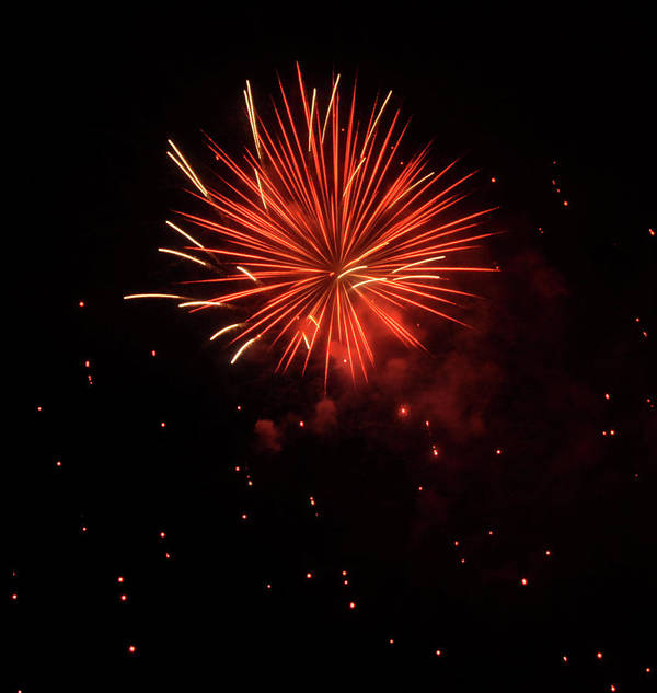 Fireworks Poster featuring the photograph Redburst 2 by Vijay Sharon Govender