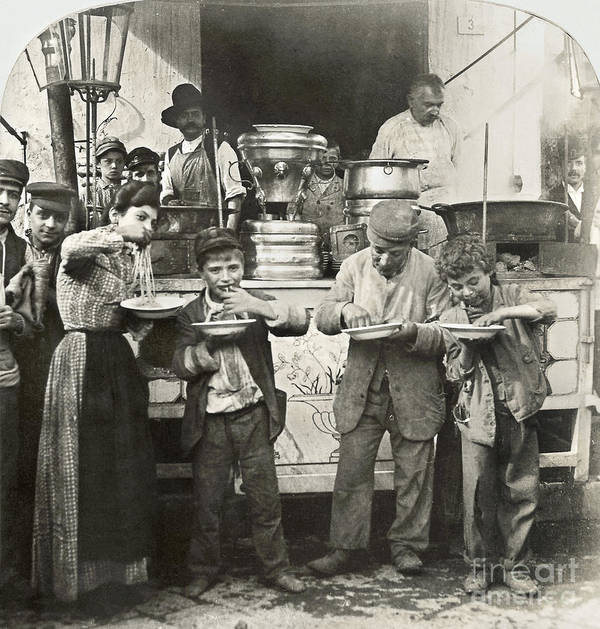 1908 Poster featuring the photograph Spaghetti Vendor, C1908 by Granger