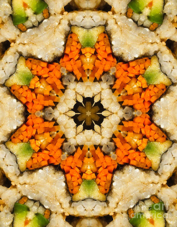 Asian Food Poster featuring the digital art Kaleidoscope Vegetable Sushi by Amy Cicconi