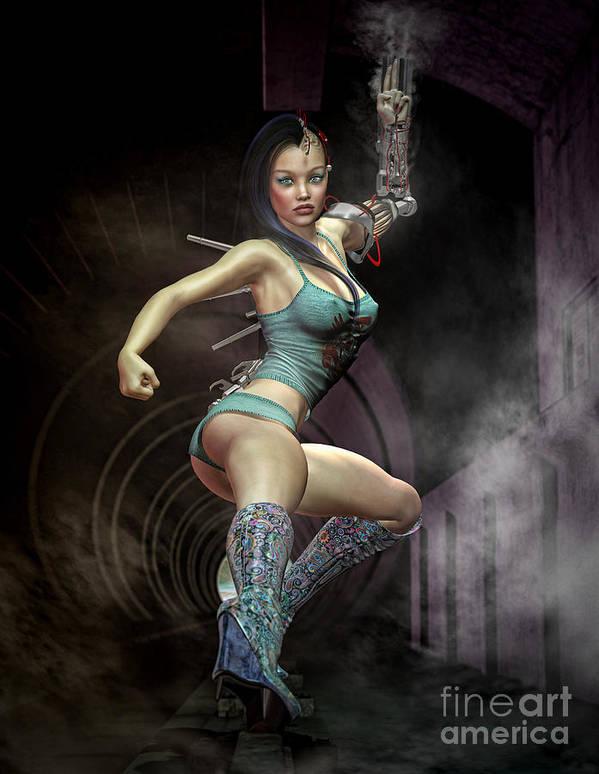 Sexy Poster featuring the digital art Maggies Got A Gun by Georgina Hannay
