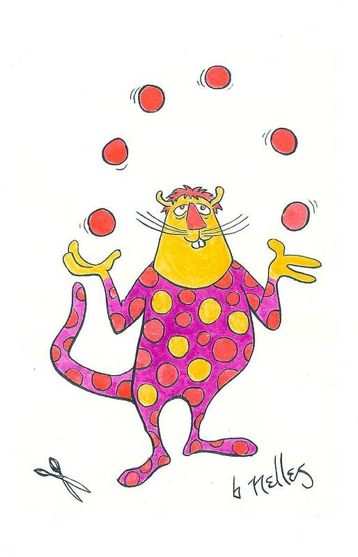 Juggling Poster featuring the painting Creature Juggling Polka Dots by Barry Nelles Art