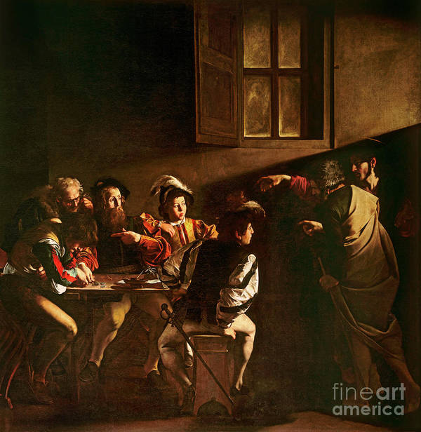 Chiaroscuro Poster featuring the painting The Calling Of St Matthew by Michelangelo Merisi o Amerighi da Caravaggio