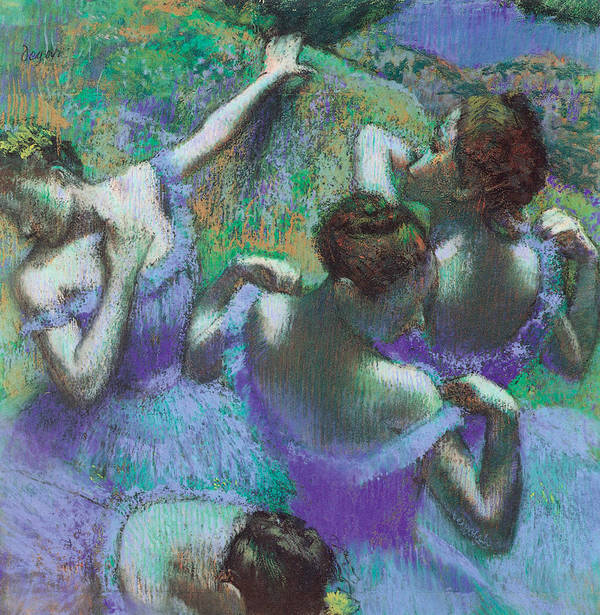 Blue Dancers Poster featuring the pastel Blue Dancers by Edgar Degas