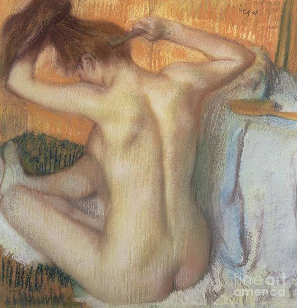 Back; Comb; Brush; Hair; Nude; Impressionist; Female; Se Coiffer; Peigne; Dos; Coiffant Poster featuring the pastel Woman Combing Her Hair by Edgar Degas