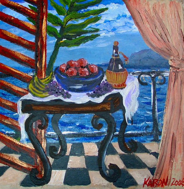 Tile Poster featuring the painting Balcony By The Mediterranean Sea by Karon Melillo DeVega
