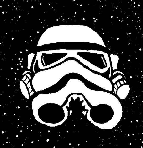 Trooper Poster featuring the digital art Trooper On Starry Sky by Jera Sky