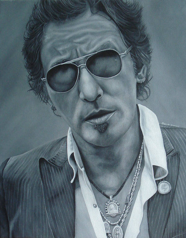 Bruce Springsteen Poster featuring the painting Bruce Springsteen IIi by David Dunne