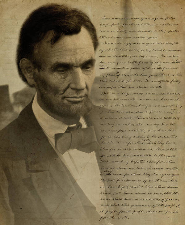Gettysburg Poster featuring the digital art Lincoln At Gettysburg by Ray Downing