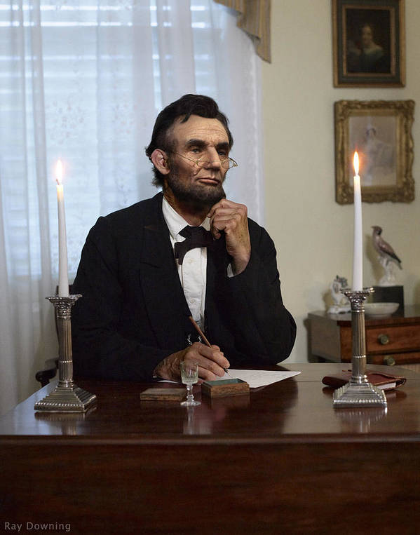 Abraham Lincoln Poster featuring the digital art Lincoln At His Desk 2 by Ray Downing