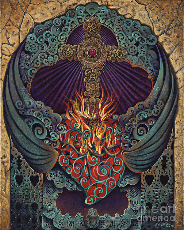 Sacred Poster featuring the painting Sacred Heart by Ricardo Chavez-Mendez