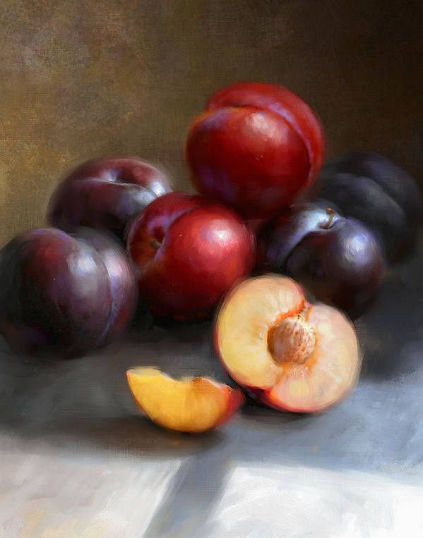 Plums Poster featuring the painting Red And Black Plums by Robert Papp