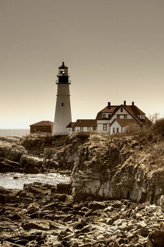 Atlantic Ocean Poster featuring the photograph Portland Head Lighthouse by Joann Vitali