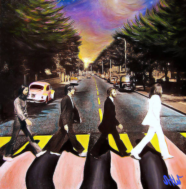 The Beatles Poster featuring the painting Abbey Road by Steve Will