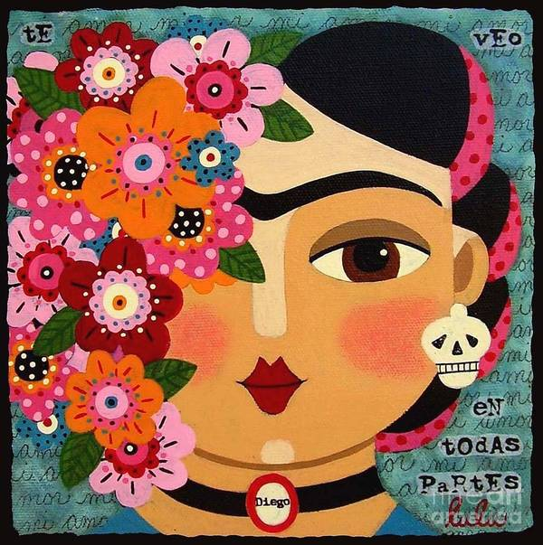 Frida Poster featuring the painting Frida Kahlo With Flowers And Skull by LuLu Mypinkturtle