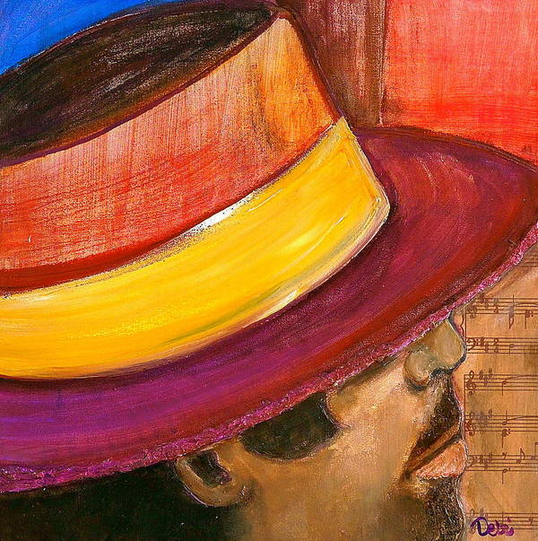 Man Poster featuring the painting Jazzman by Debi Starr