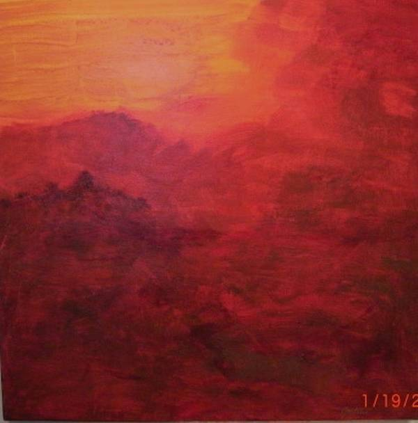Reds Poster featuring the painting Late Evening Storm Across The Mountains by Jim Ellis
