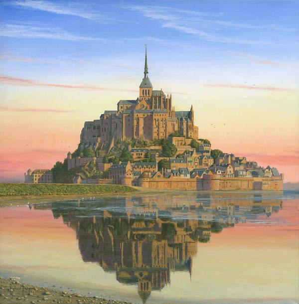 Landscape Poster featuring the painting Mont Saint-michel Morn by Richard Harpum