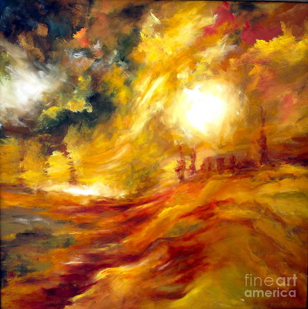 Sun Poster featuring the painting Sunrise by Michelle Dommer