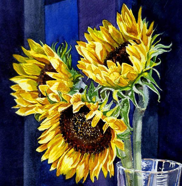 Sunflowers Poster featuring the painting Three Sunny Flowers by Irina Sztukowski