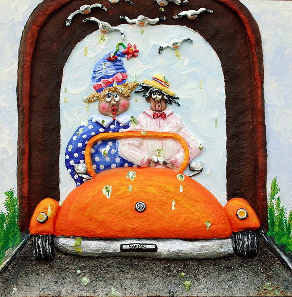 Car Poster featuring the painting Karma by Alison Galvan