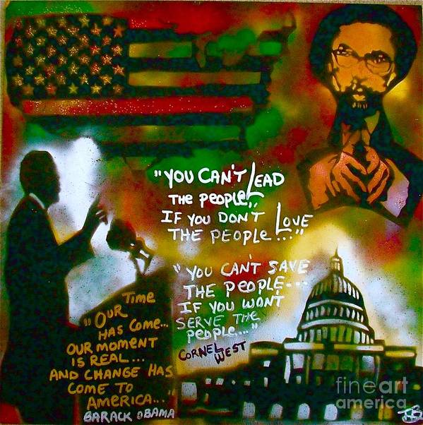 Barack Obama Poster featuring the painting Obama Vs. Cornel by Tony B Conscious