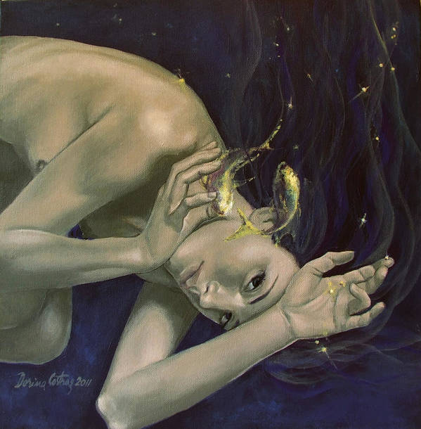 Art Poster featuring the painting Pisces From Zodiac Series by Dorina Costras
