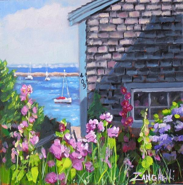 Ocean Poster featuring the painting A Visit To P Town Jr by Laura Lee Zanghetti