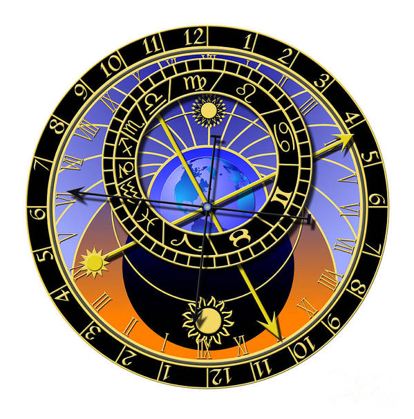 Abstruse Poster featuring the digital art Astronomical Clock by Michal Boubin
