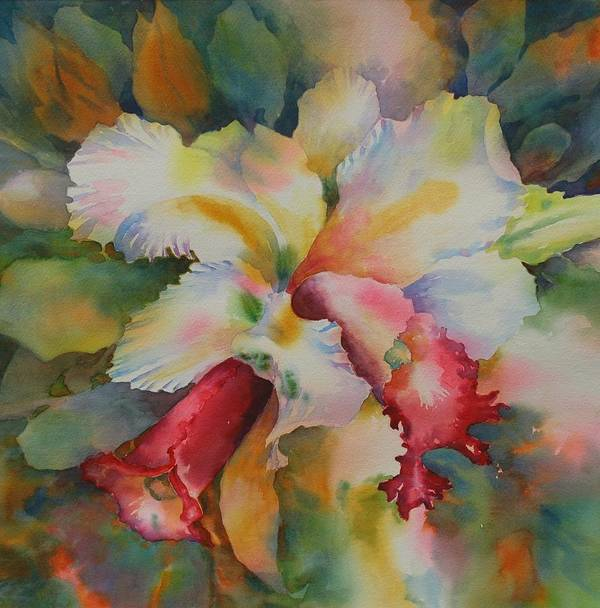 Orchid Poster featuring the painting Into The Light by Tara Moorman