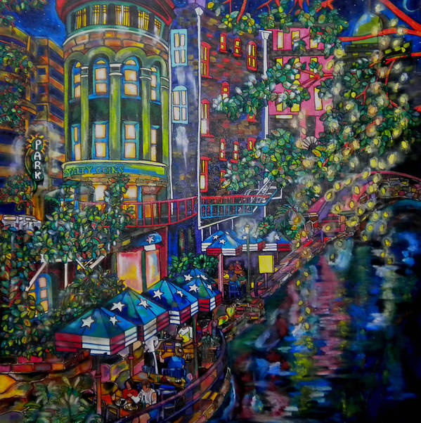 Riverwalk Poster featuring the painting Night On The River by Patti Schermerhorn