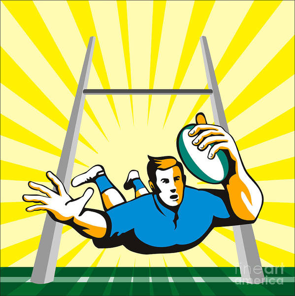 Rugby Poster featuring the digital art Rugby Player Scoring Try Retro by Aloysius Patrimonio