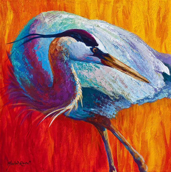 Heron Poster featuring the painting Second Glance - Great Blue Heron by Marion Rose
