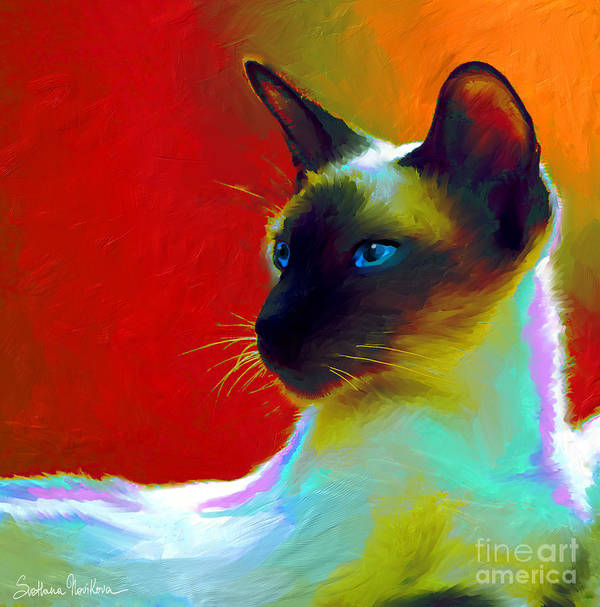 Siamese Cat Art Poster featuring the painting Siamese Cat 10 Painting by Svetlana Novikova