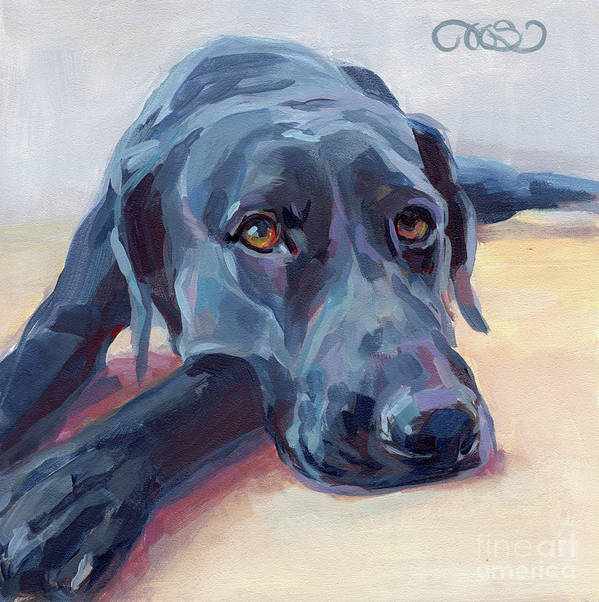 Black Lab Poster featuring the painting Stretched by Kimberly Santini
