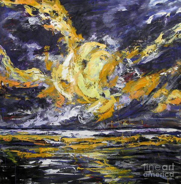 Sun Poster featuring the painting Sun And Sky by Debora Cardaci