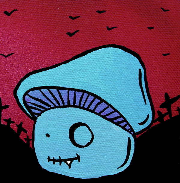 Zombie Poster featuring the mixed media Toothed Zombie Mushroom by Jera Sky