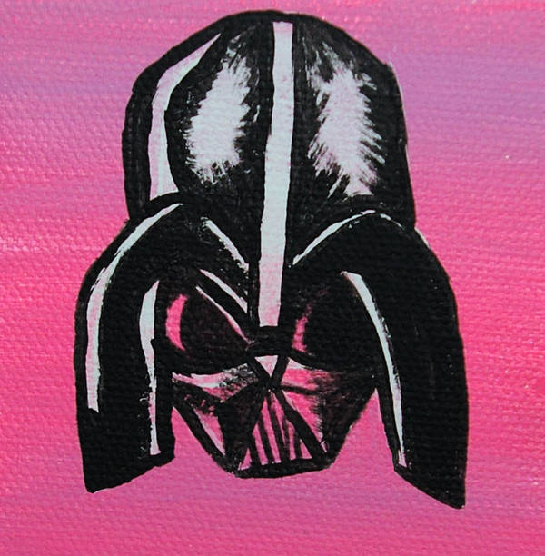 Darth Vader Poster featuring the painting Vader In Pink by Jera Sky