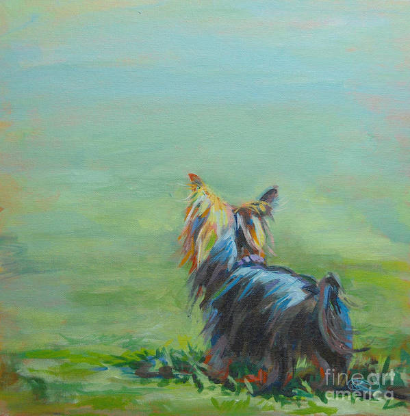 Yorkshire Terrier Poster featuring the painting Yorkie In The Grass by Kimberly Santini