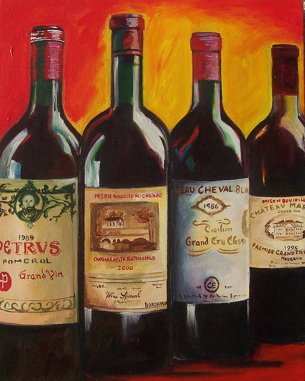 Wine Painting Poster featuring the painting Bordeaux by Sheri Chakamian