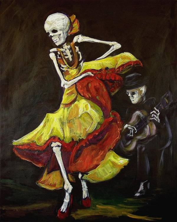 Muertos Poster featuring the painting Flamenco Vi by Sharon Sieben