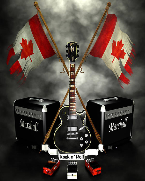 Crest Poster featuring the digital art Rock N Roll Crest- Canada by Frederico Borges