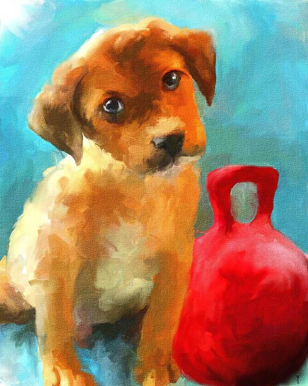Puppy Poster featuring the painting Play With Me by Jai Johnson