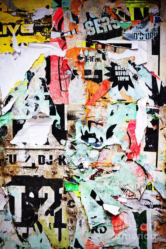 Billboard Poster featuring the photograph Billboard With Old Torn Posters by Richard Thomas