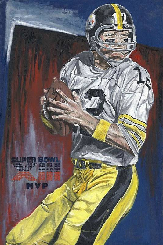Terry Bradshaw Pittsburgh Steelers Super Bowl Xliii Mvp Quaterback David Courson Art Football Painting Poster featuring the painting Terry Bradshaw Xiii Mvp by David Courson