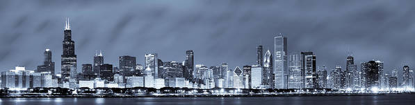Chicago Skyline Poster featuring the photograph Chicago In Blue by Sebastian Musial